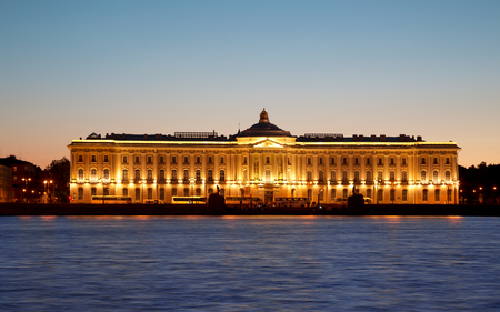 dome type: Night view of St Petersburg. Building of Academy of Arts. Editorial