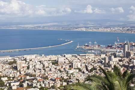 carmel: Beautiful panoramic view from Mount Carmel to cityscape and port in Haifa, Israel.