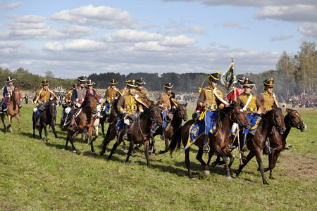 hussar: MOSCOW REGION, RUSSIA - SEPTEMBER 01, 2012: Reenactment of the Borodino battle between Russian and French armies in 1812. The Russian cavalry on the field of Borodino. Hussars