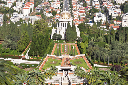 baha: Top view of the Bahai Garden and Haifa, Israel Stock Photo