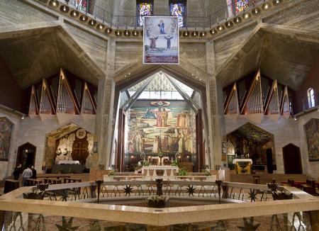 NAZARETH; ISRAEL - DECEMBER 06; 2015: The interior of the Church of the Annunciation in Nazareth; Israel