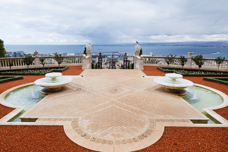 landscape architecture: HAIFA, ISRAEL - DECEMBER 01, 2015: Haifa, Bahai gardens upper terrace, Israel