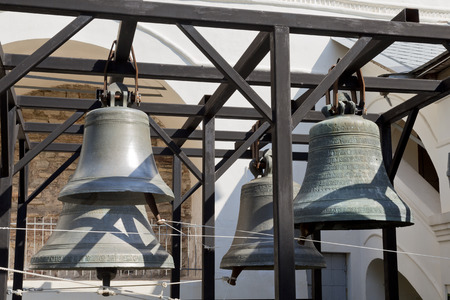 veliky: Bells at the foot of the belfry of St.Sopfia Cathedral, Veliky Novgorod