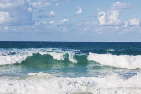 ocean and sea: Beautiful seascape with emerald waves