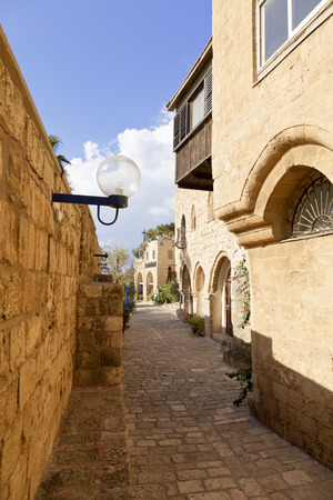 jewish houses: The old narrow streets of Jaffa. Tel Aviv, Israel.