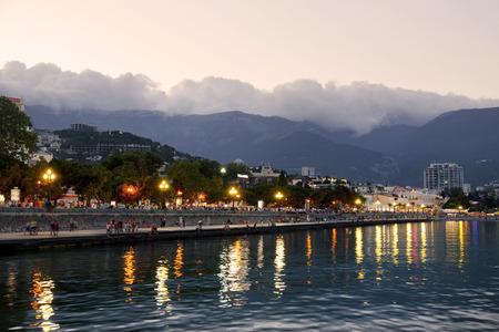 Yalta embankment at sunset, Crimea, Russia Stok Fotoğraf