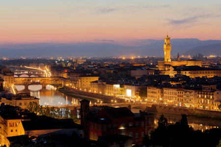 ponte vechio: Panorama of Florence at sunset. Italy Stock Photo
