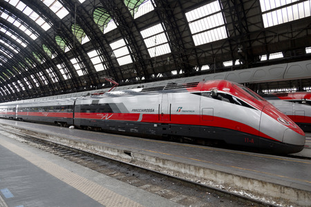 streamlined: Super streamlined train in Milan Central Station