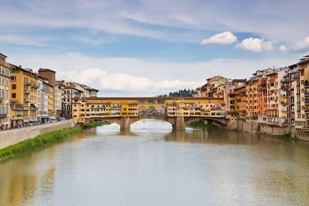 ponte: View of medieval stone bridge Ponte Vecchio, Florence, Italy Stock Photo