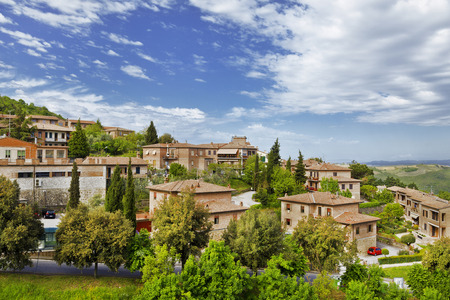 montalcino: Scenery of old town of Montalcino in Val dOrcia. Stock Photo