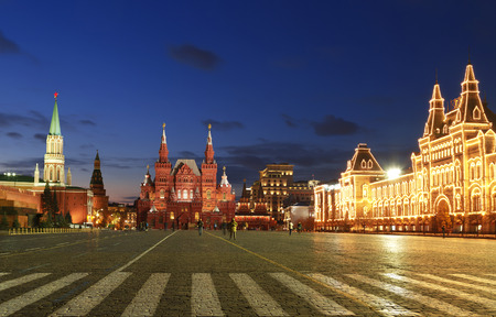 red square: Red square at night, Moscow, Russia