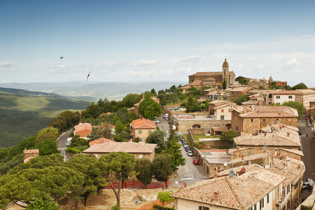 montalcino: View of the medieval Italian town of Montalcino. Tuscany