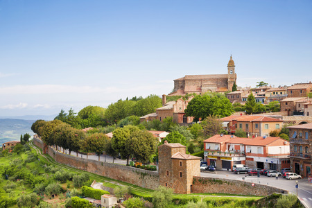 val d'orcia: Scenery of old town of Montalcino in Val dOrcia. Stock Photo