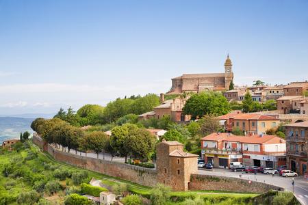 val dorcia: Scenery of old town of Montalcino in Val dOrcia. Stock Photo