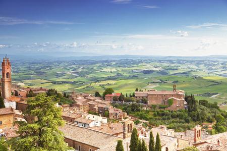 montalcino: View of the medieval Italian town of Montalcino. Tuscany