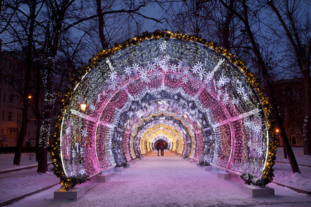 light tunnel: Christmas night Moscow. The light tunnel on Tverskoy Boulevard