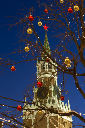 spasskaya: Spasskaya Tower and Christmas decoration on Red square in Moscow, Russia