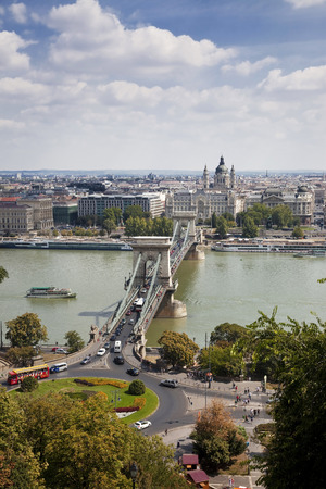 chain bridge: BUDAPEST, HUNGARY - AUGUST 18, 2012: Aerial view of Chain bridge. It was first permanent stone-bridge connecting Pest and Buda.