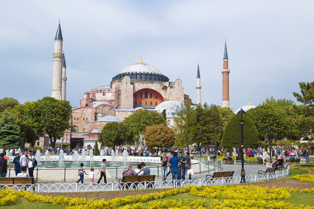 tourist attraction: ISTANBUL, TURKEY - MAY 16, 2015: Istanbul, Sultanahmet square with views of the Hagia Sophia
