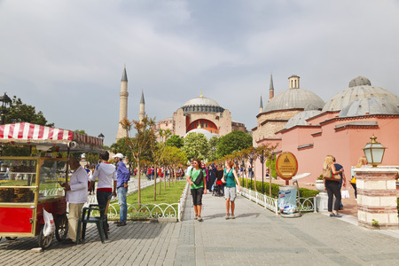 islamic scenery: ISTANBUL, TURKEY - MAY 16, 2015: Istanbul, Sultanahmet square with views of the Hagia Sophia