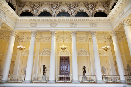 colonnade: ST. PETERSBURG,RUSSIA - JULY 11, 2015: State Russian Museum, the interior of the colonnade, St. Petersburg Editorial