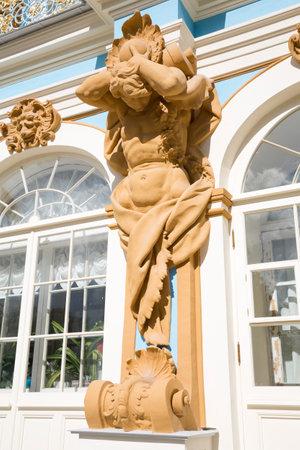 tsarskoye: TSARSKOYE SELO, SAINT-PETERSBURG, RUSSIA - JULY 10, 2015: The figure of Atlant on the facade of the Catherine Palace in Tsarskoye Selo Editorial
