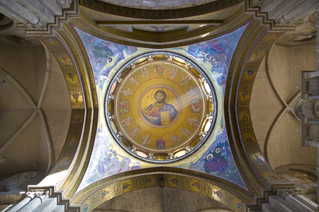sepulchre: JERUSALEM, ISRAEL - DECEMBER 05, 2015: Interior and Dome of Holy Sepulchre Cathedral with Jesus Mosaic, Jerusalem Editorial
