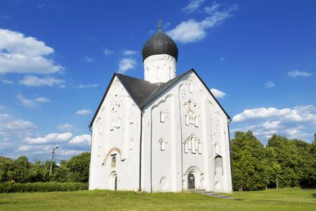 14th century: Old Russian Orthodox church of the Transfiguration on Ilyina in Veliky Novgorod on a summer day, 14th century