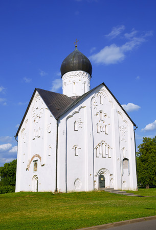 14th: Old Russian Orthodox church of the Transfiguration on Ilyina in Veliky Novgorod on a summer day, 14th century