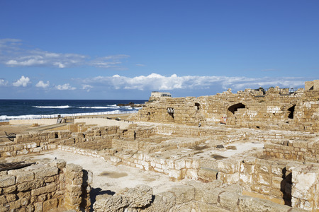 caesarea: The architecture of the Roman period in the national park Caesarea on the Mediterranean coast of Israel Stock Photo