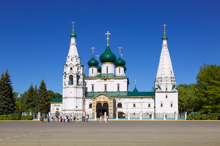 prophet: YAROSLAVL, RUSSIA - JULY 19, 2014: Tourists at the Prophet Elijahs Church in Yaroslavl, Russia