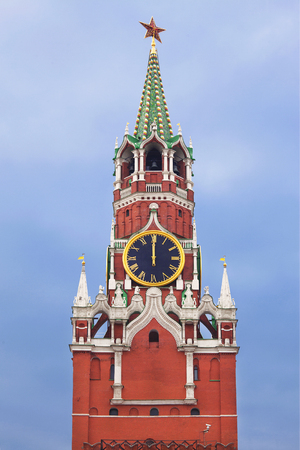 spasskaya: The Spasskaya tower with the chiming clock of the Kremlin. Moscow, Russia