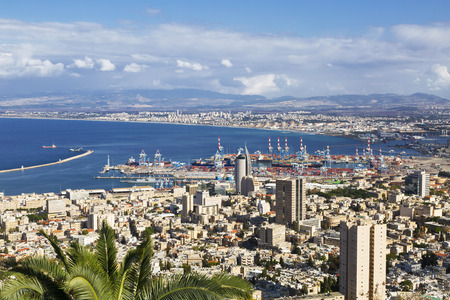 HAIFA, ISRAEL - DECEMBER 05, 2015: Beautiful panoramic view from Mount Carmel to cityscape and port in Haifa, Israel. Editorial