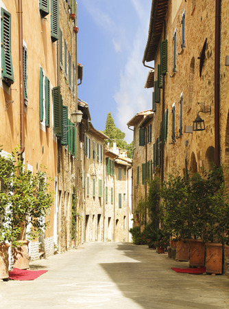 montalcino: Street in the town of San Quirico dorcia, Tuscany, Italy