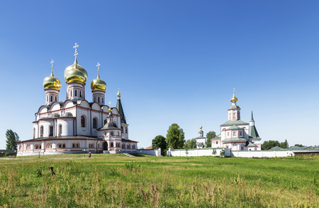 Panorama of the Valday Iversky monastery in the Novgorod region on a Sunny day, Russian Orthodox monastery founded by Patriarch Nikon in 1653