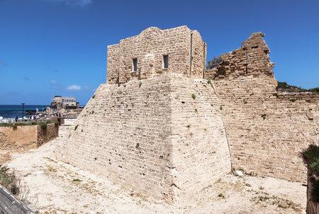crusaders: CAESAREA, ISRAEL - FEBRUAR 28, 2016: Fortified Crusader City in the National Archaeological Park Caesarea