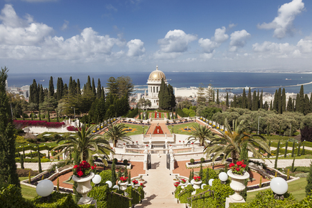 Bahai 정원과 하이파, 이스라엘의 상위 뷰