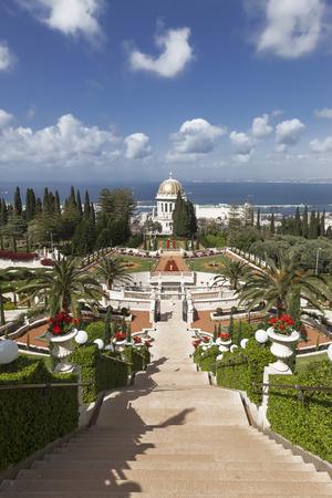 bahaullah: HAIFA, ISRAEL - APRIL 16, 2012: Top view of the Bahai Garden and Haifa, Israel Stock Photo