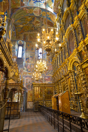 iconostasis: YAROSLAVL. RUSSIA - JULY 22, 2014: The frescoes in the Church of Elijah the Prophet in Yaroslavl. Russia Editorial