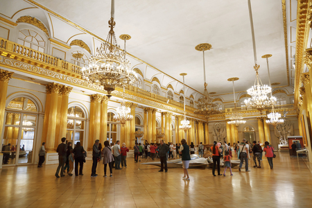 receptions: ST PETERSBURG, RUSSIA - JULY 11, 2015:Hermitage Emblem or Armorial Hall which occupies area of 600 square meters was designed by Stasov. Hall was used for official receptions