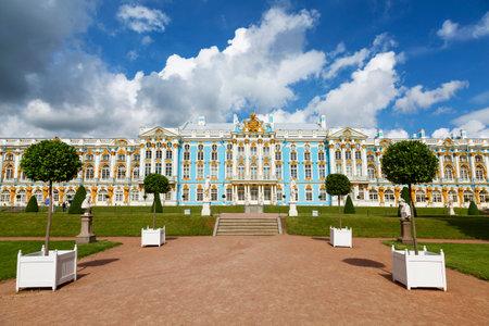 tsarskoye: TSARSKOYE SELO, SAINT-PETERSBURG, RUSSIA - JULY 10, 2015: Catherine Palace. Summer view. The Tsarskoye Selo is State Museum-Preserve. Located near Saint-Petersburg Editorial