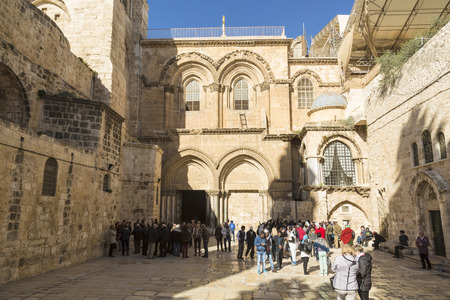 sepulcher: JERUSALEM, ISRAEL - DECEMBER 05, 2015: Entrance to Holy Sepulchre Church in Jerusalem. Israel Editorial