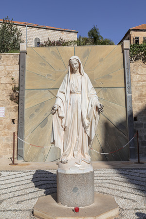 nazareth: The image of the virgin Mary in the courtyard of the Church of the Annunciation. Nazareth Stock Photo