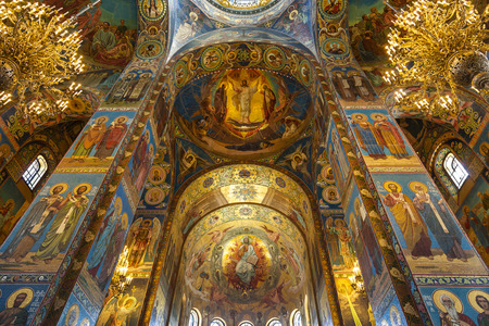 SAINT PETERSBURG, RUSSIA - JULY 06, 2015. Interior of the Church of the Savior on Spilled Blood in St. Petersburg, Russia.