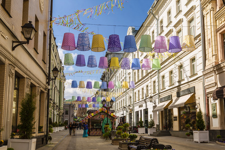 lampshades: MOSCOW, RUSSIA - APRIL 24, 2016: the Festival Moscow spring, the decoration in Stoleshnikov pereulok