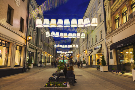 lampshades: MOSCOW, RUSSIA - APRIL 28, 2016: Night Moscow, Stoleshnikov pereulok in the festival Moscow spring