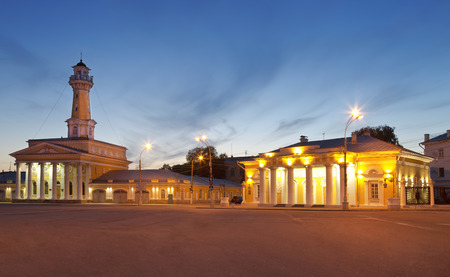 kostroma: KOSTROMA, RUSSIA - JULY 27, 2014: The Susanin square and the fire tower at night. Kostroma