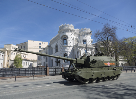rehearsal: MOSCOW, RUSSIA - MAY 07, 2015: Rehearsal of parade in honor of Victory Day. 2015. Self-propelled howitzer Coalition-SV