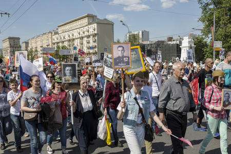 generals: MOSCOW, RUSSIA - MAY 09, 2016: Procession of the public movement Immortal regiment in memory of the 26 million compatriots who died in the Great Patriotic War