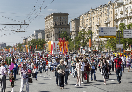 immortal: MOSCOW, RUSSIA - MAY 09, 2016: Procession of the public movement Immortal regiment in memory of the 26 million compatriots who died in the Great Patriotic War